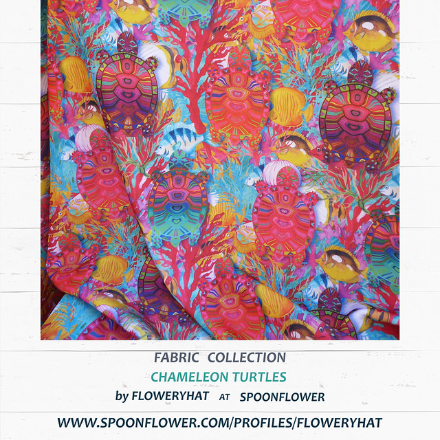 CHAMELEON TURTLES FABRIC SILKY FAILLE By FLOWERYHAT