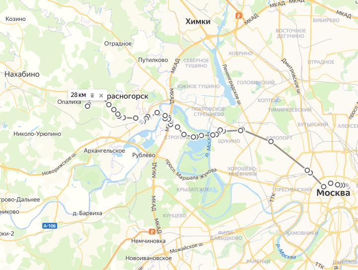 Схема участка Москва-Нахабино с отмеченным маршрутом следования