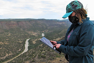 Katrina Bennett overlooking the Rio Grande.