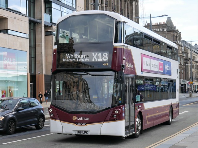 Lothian Volvo B5TL Wright Eclipse Gemini 3 SJ66LPK 449 operating Lothian Country Bus service X18 to Whitburn at Princes Street, Edinburgh, on 3 August 2020.