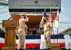 Capt. Paul Allgeier, left, relieves Capt. Marc D. Boran as USS Chancellorsville (CG 62) commanding officer, Aug. 5. (U.S. Navy/MC2 Markus Castaneda)