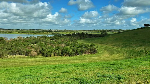 flood hill floodplain floodmitigation pond ponds celeryfieldnaturearea recreationalarea sarasotacounty nature green clouds whiteclouds shadows gulfcoast florida jannagalski jannagal freshwaterponds marsh trees lawn scurve landscape panoramicview
