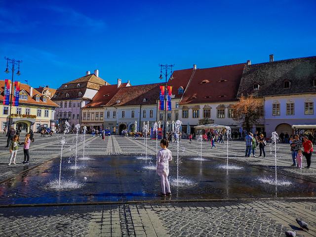 Ground fountains in Sibiu, Romania.
