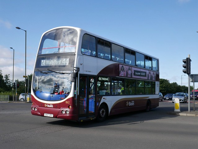 Lothian Volvo B9TL Wright Eclipse Gemini SN57DFV 862 operating service 44 to Wallyford at Duddingston Crescent on 6 August 2020.