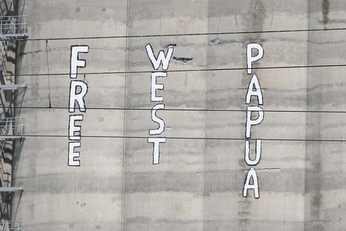 'Free West Papua' graffiti on the Sunshine grain silos
