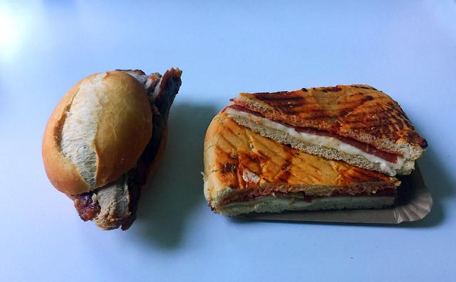 Pork roast & salami pizza slices / Schweinerostbraten & Salami-Pizzaschnitten