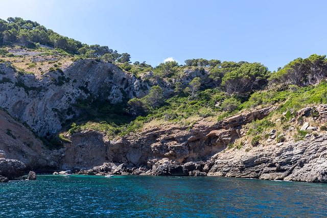 Cliffs and wild vegetation of Punta des Gavinots near Platja des Coll Baix. Excursion with Alcúdia sea trips