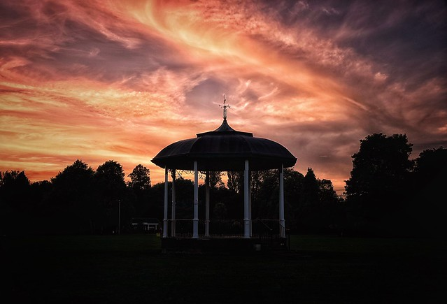 Sunset over the bandstand!