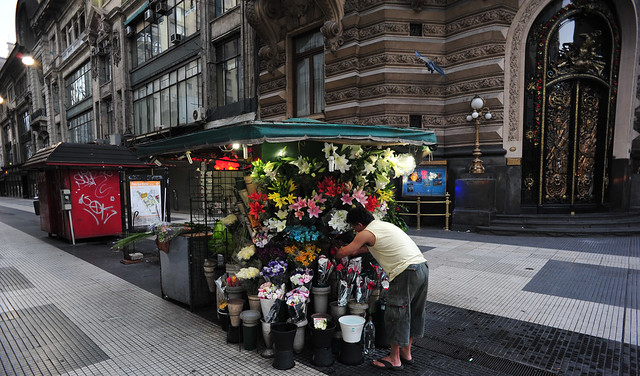 Flower Lady, early start, Cordoba Ave., Buenos Aires,