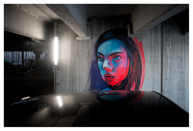The girl on the wall of the underground parking