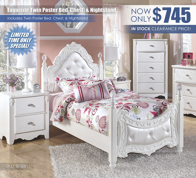 Exquisite Twin Poster Bed Chest and Nightstand_B188