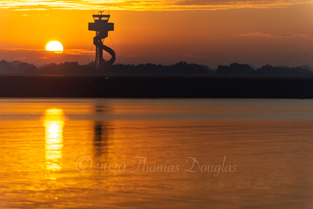 Sunrise from Kyeemagh NSW Sydney facing airport east west runway