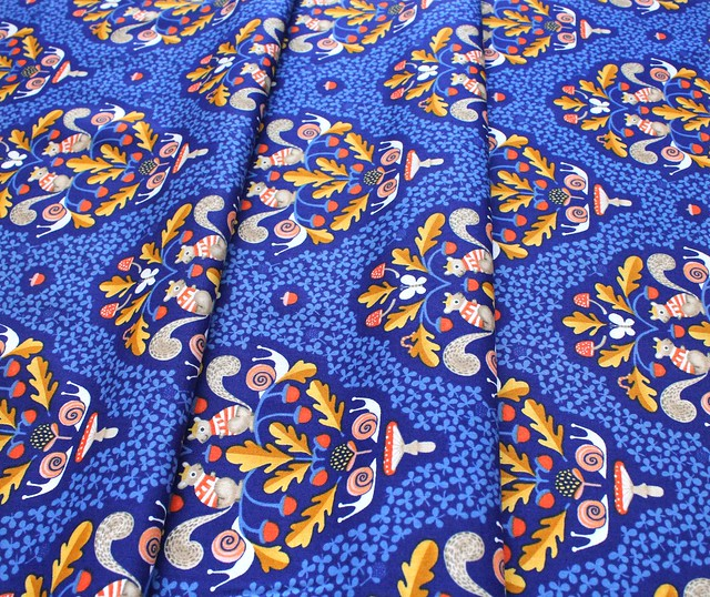 Windham Fabrics Sweet Oak 51305-1 Squirrel Damask Navy