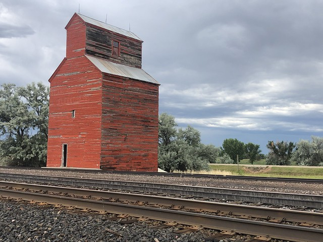 The Red Grain Elevator. Seen in Zurich,Montana