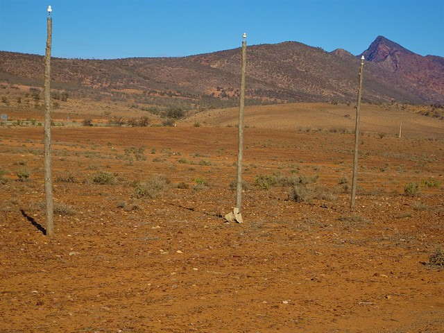 Flinders Ranges South Australia. The memorial and replica Overland Telegpaph poles 1871 at the Moralana Station scenic lookout over the western side of Wilpena Pound.