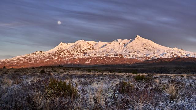 Sunrise on Ruapehu with a Full Moon