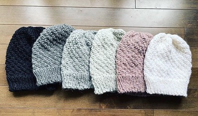 Nadine finished a bunch of tuques!!
