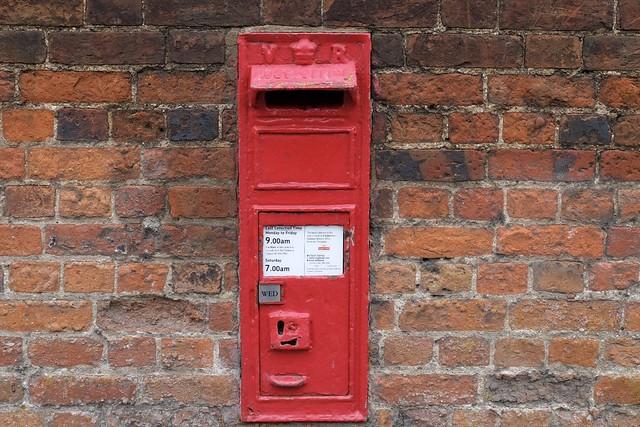 V R post box Coggashall Essex UK.