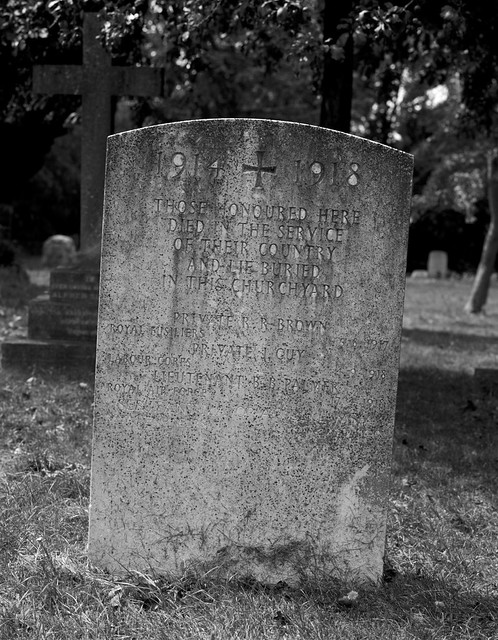 CWGC record of Great War Dead buried in the churchyard but who have no headstone
