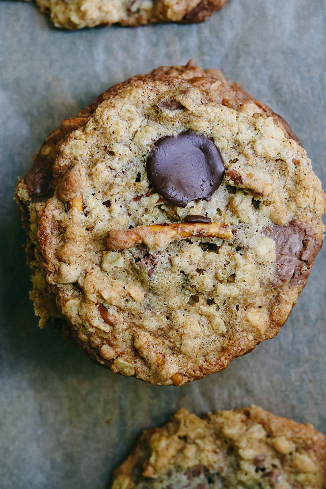 Salted Pretzel and Chocolate Chunk Oatmeal Cookies