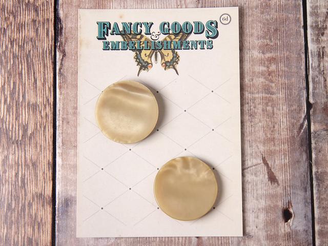 Set of 2 giant light brown vintage plastic buttons – 40mm