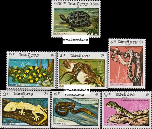 Známky Laos 19884 Plazy, nerazítkovaná séria