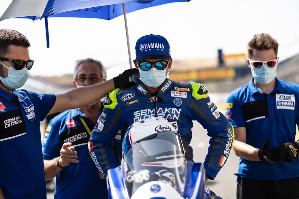 Galang Hendra saat balapan seri 2 WSSP di sirkuit Jerez
