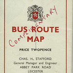Fri, 2020-08-07 10:30 - It is always nice to see some British municipal transport publicity and this wee route map from Leicester CT in 1950 was likely one of the first to show the network following the final abandonment of the city's tramways in 1949. The map itself makes much use, in a decorative border, of elements of the coat of arms (or heraldic achievement) and is also a reminder of one of the oddities of the system. Leicester used seperate route numbers for 'inward' and 'outward' journeys, some of which were the same such as the 10 many others of which weren't.  The cover has been marked 'complimentary' so someone saved 2d and later on it was 'spare'.