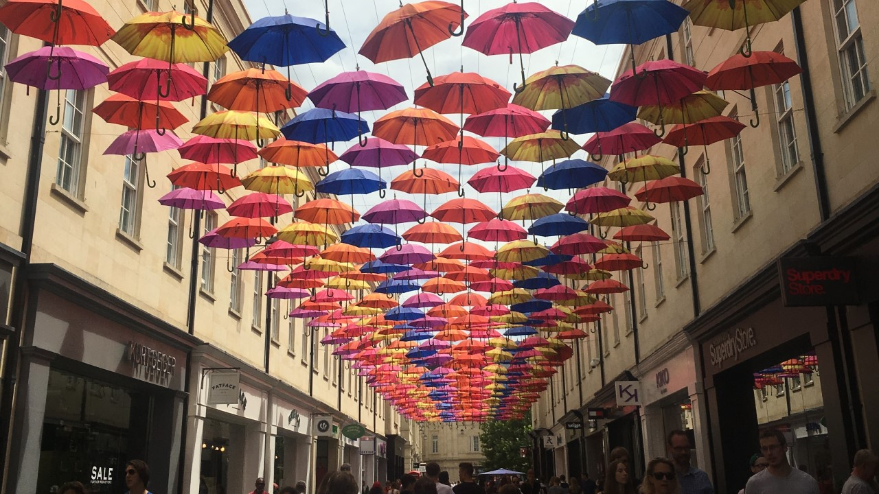 Umbrellas over St Lawrence Street