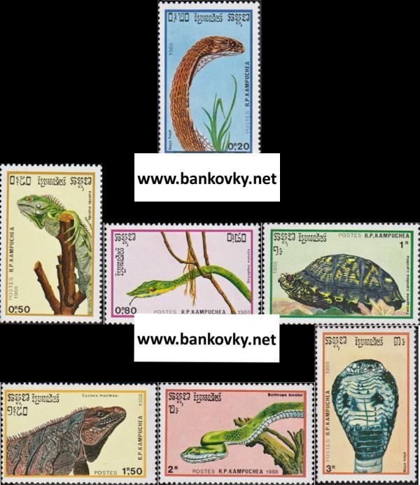 Známky Kambodža 1988 Plazy, nerazítk. séria MNH