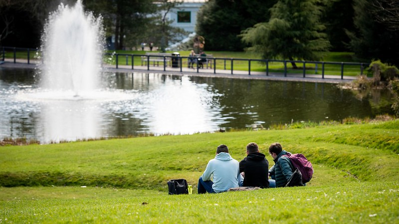 students sat on the grass facing the lake with a fountain