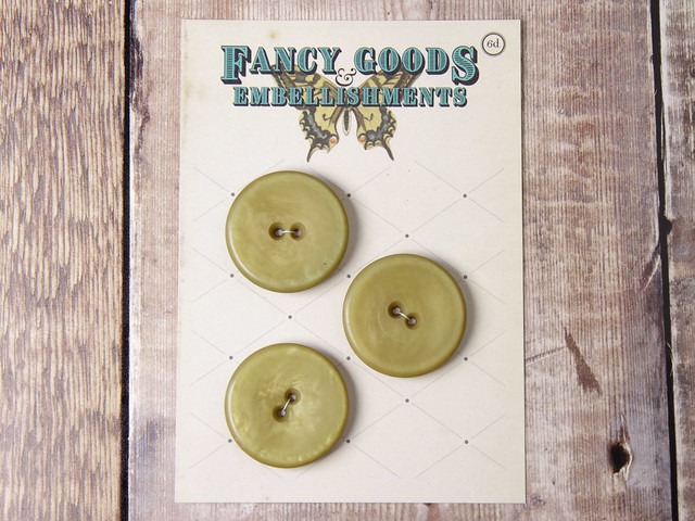 3 vintage giant yellow-green plastic buttons – 37mm