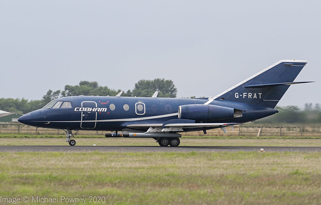 G-FRAT - 1967 build Dassault Falcon 20EW, rolling for departure on Runway 25 at Coningsby
