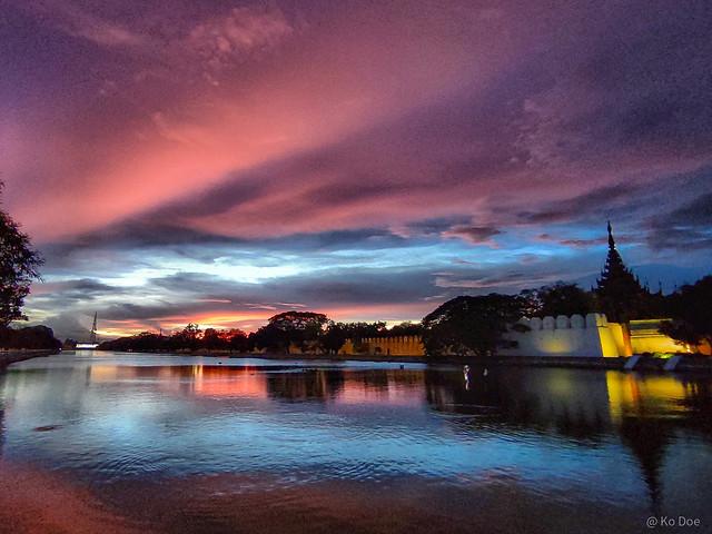 Sunset view in Mandalay, Myanmar.