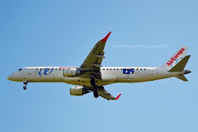 Air Europa Express EC-KYO Embraer ERJ-195LR (ERJ-190-200 LR) cn/19000276 Real Club Recreativo de Huelva sticker @ LFPO / ORY 23-04-2015