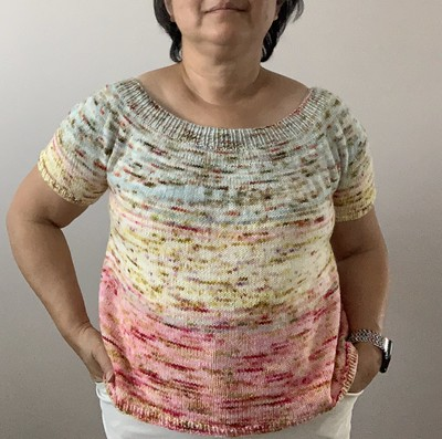 My V-Back Tee is finished and blocked but I have decided I am going to frog the ribbing and add a few more inches!!