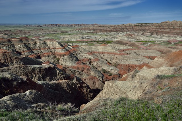 Across the Badlands to a Distant Horizon Under Blue Skies (Badlands National Park)