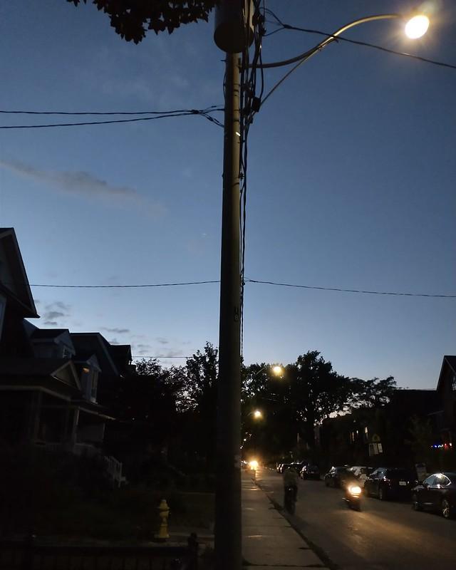 Looking north on Bartlett below Shanly, 9:06 pm #toronto #dovercourtvillage #bartlettavenue #poles #wires #blue #twilight #sky #dlws