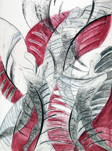 Pencil and oil pastel drawing of a Prayer Plant / Dancers Raising Arms in Worship