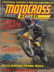 1975 Al Baker on the all-new Suzuki MR370 gracing the cover of the December issue of Motocross Action