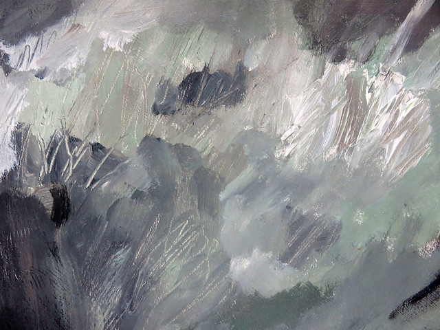 Detail of an acrylic painting of Sage Brush