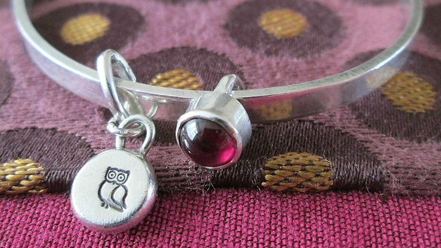 a wise owl: silver bangle with kinetic charms