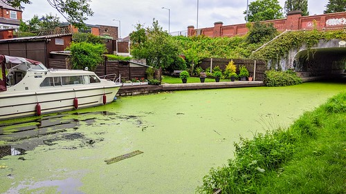 Green covered canal at Preston | by Tony Worrall