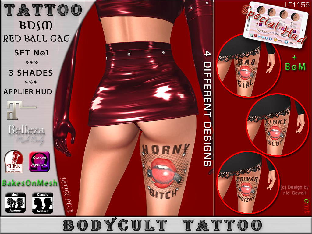 BodyCult Tattoo 4* BDSM – Horny Bitch – Kinky Slut – Private Property – Bad Girl Red Ball GAG LEG