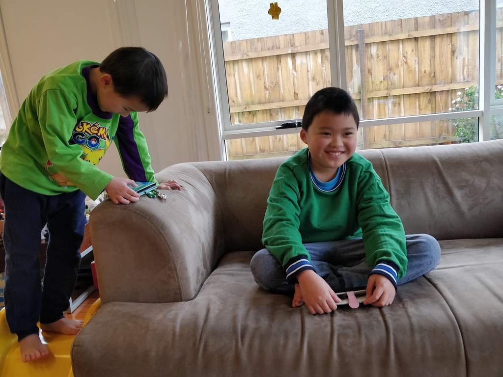 Happy Liam and Isaac playing Ninja Tycoon in Roblox on a Winter Saturday morning