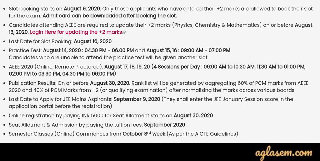 aeee 2020 AEEE 2020 - Remote Proctored Exam Date (17 to 20 Aug), Applications Extended, Revised Dates, Syllabus, Exam Pattern