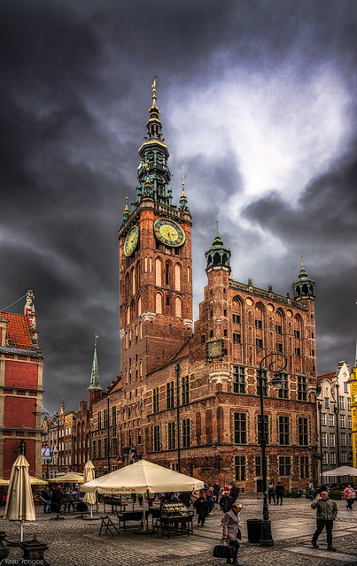 The Main Town Hall and the architecture and facade of the Royal Route,  Gdansk, Poland. 658-Edita