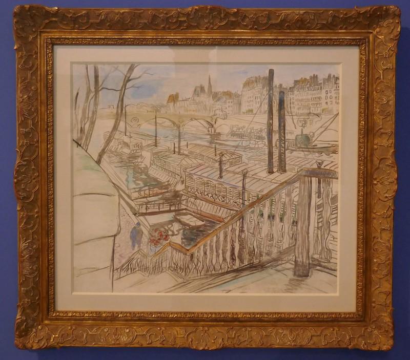 """""""Péniches sur la Seine près du Pont Marie"""", 1904, Raoul Dufy (1877-1953), exposition """"Les Années folles, Raoul Dufy, Musée des Beaux-Arts, Quimper, Bretagne, France."""