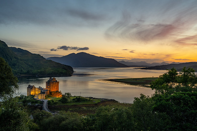 Blue hour over Eilean Donan Castle in the Scottish Highlands