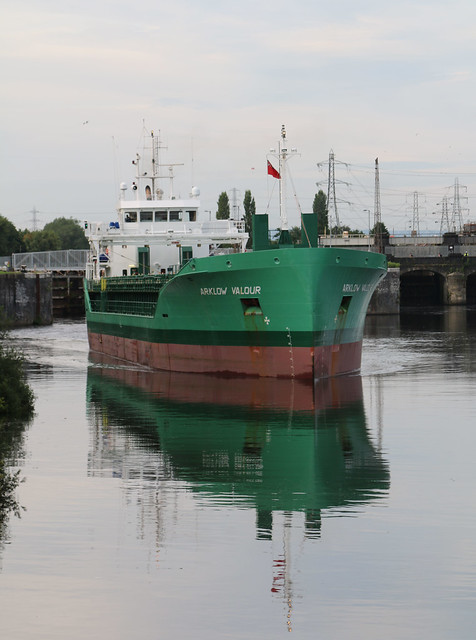 7th August 2020. Arklow Valour leaves Irlam Locks on the Manchester Ship Canal, Irlam, Salford, Greater Manchester.